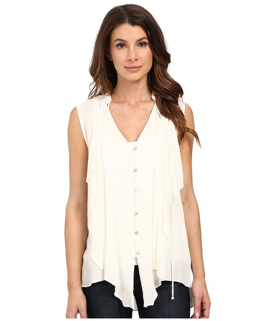 Miraclebody Jeans - Farah Cascade Front Blouse w/ Body-Shaping Inner Shell (Ivory White) Women's Blouse