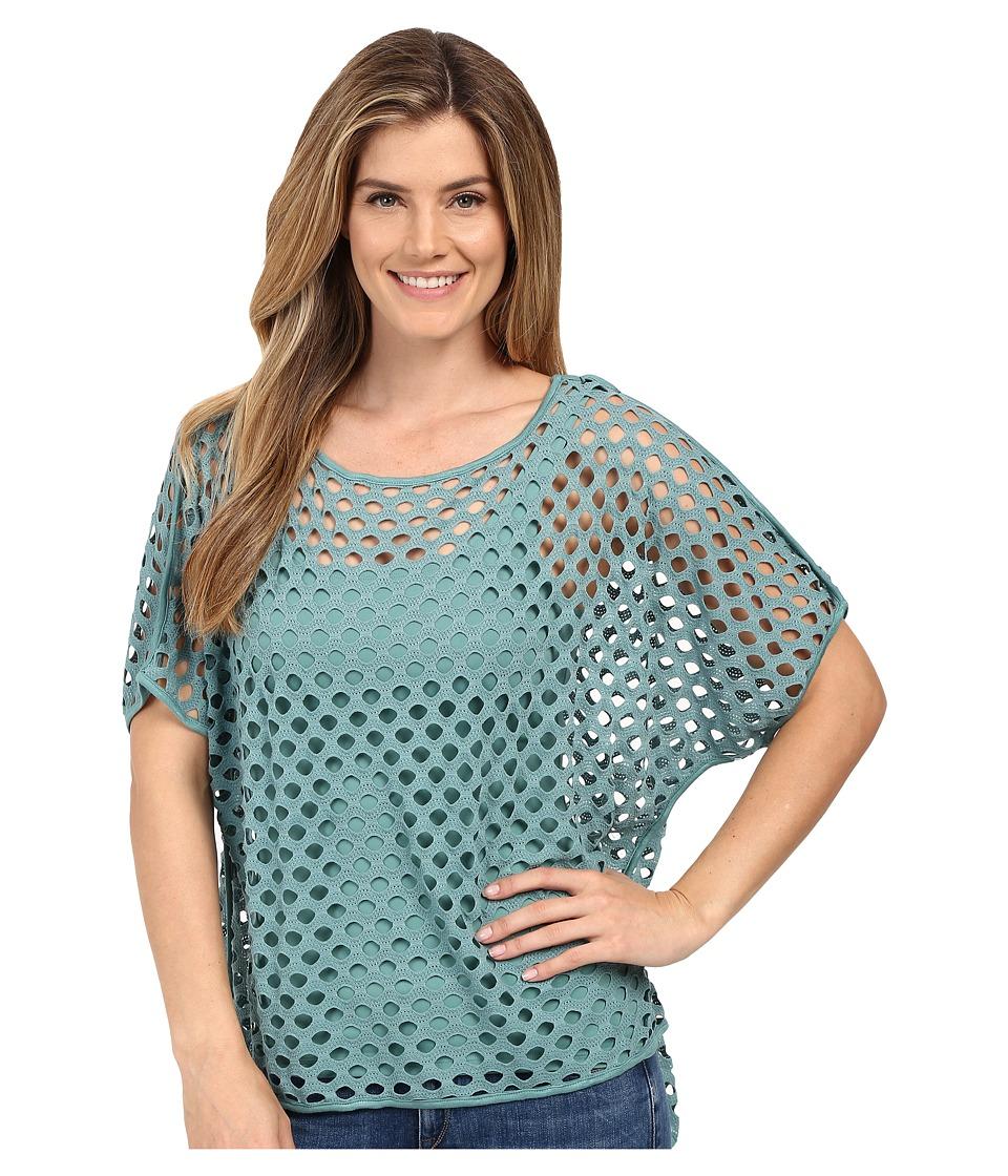 Miraclebody Jeans Fiona Fishnet Hi Lo Tee w/ Body-Shaping Inner Shell (Patina Green) Women