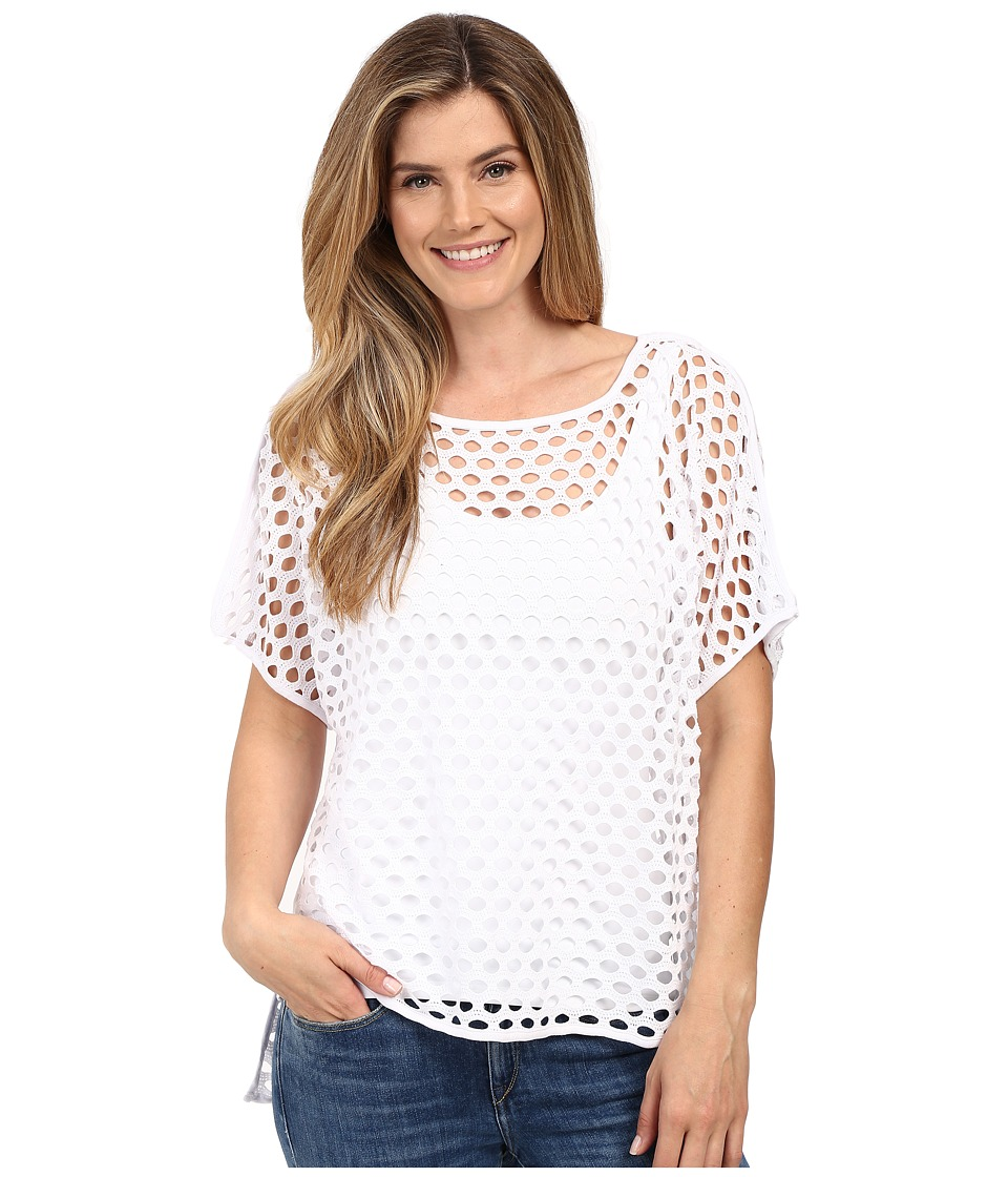 Miraclebody Jeans - Fiona Fishnet Hi Lo Tee w/ Body-Shaping Inner Shell (White) Women's T Shirt