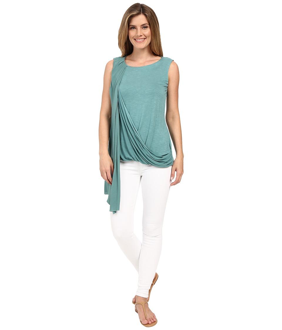 Miraclebody Jeans Gigi Side Drape Blouse w/ Body-Shaping Inner Shell (Patina Green) Women