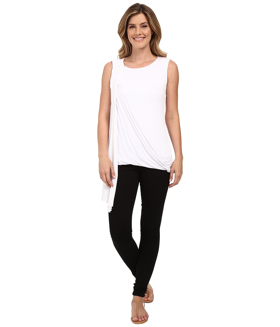 Miraclebody Jeans - Gigi Side Drape Blouse w/ Body-Shaping Inner Shell (White) Women's Blouse