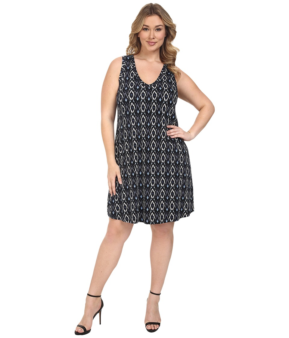 Karen Kane Plus - Plus Size Sleeveless V-Neck Dress (Blue) Women's Dress