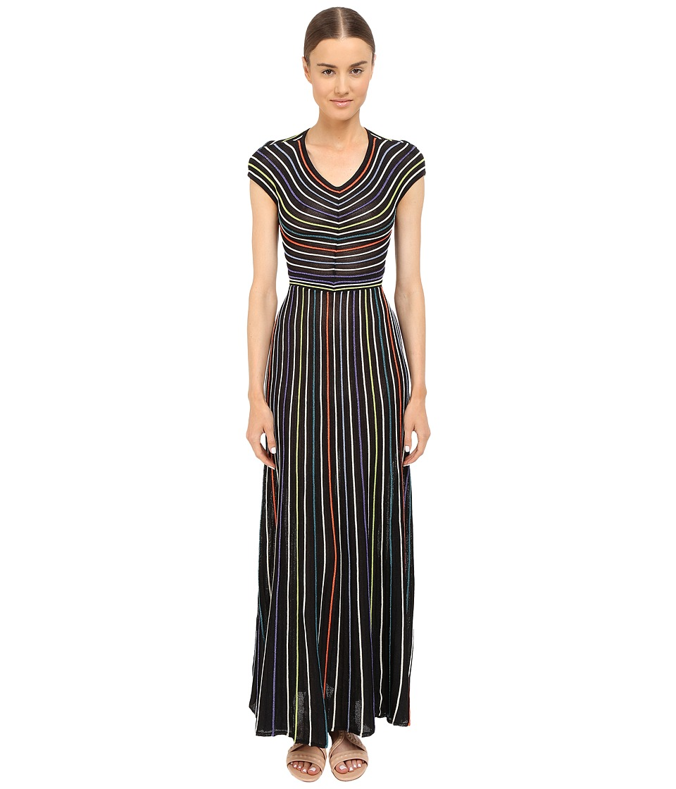 M Missoni - Lurex Micro Stripe Open Back (Black) Women's Clothing