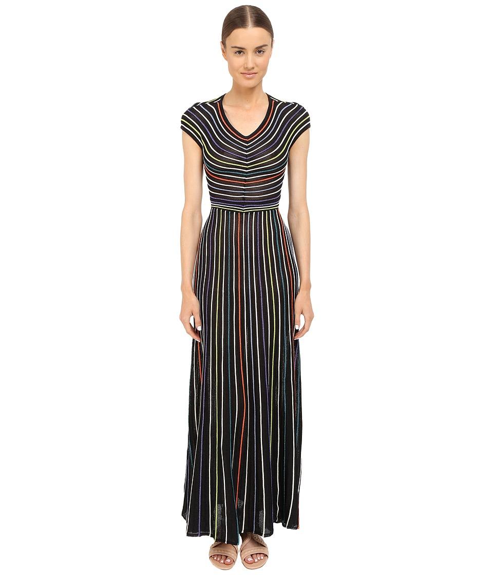 M Missoni - Lurex Micro Stripe Open Back (Black) Women's Clothing