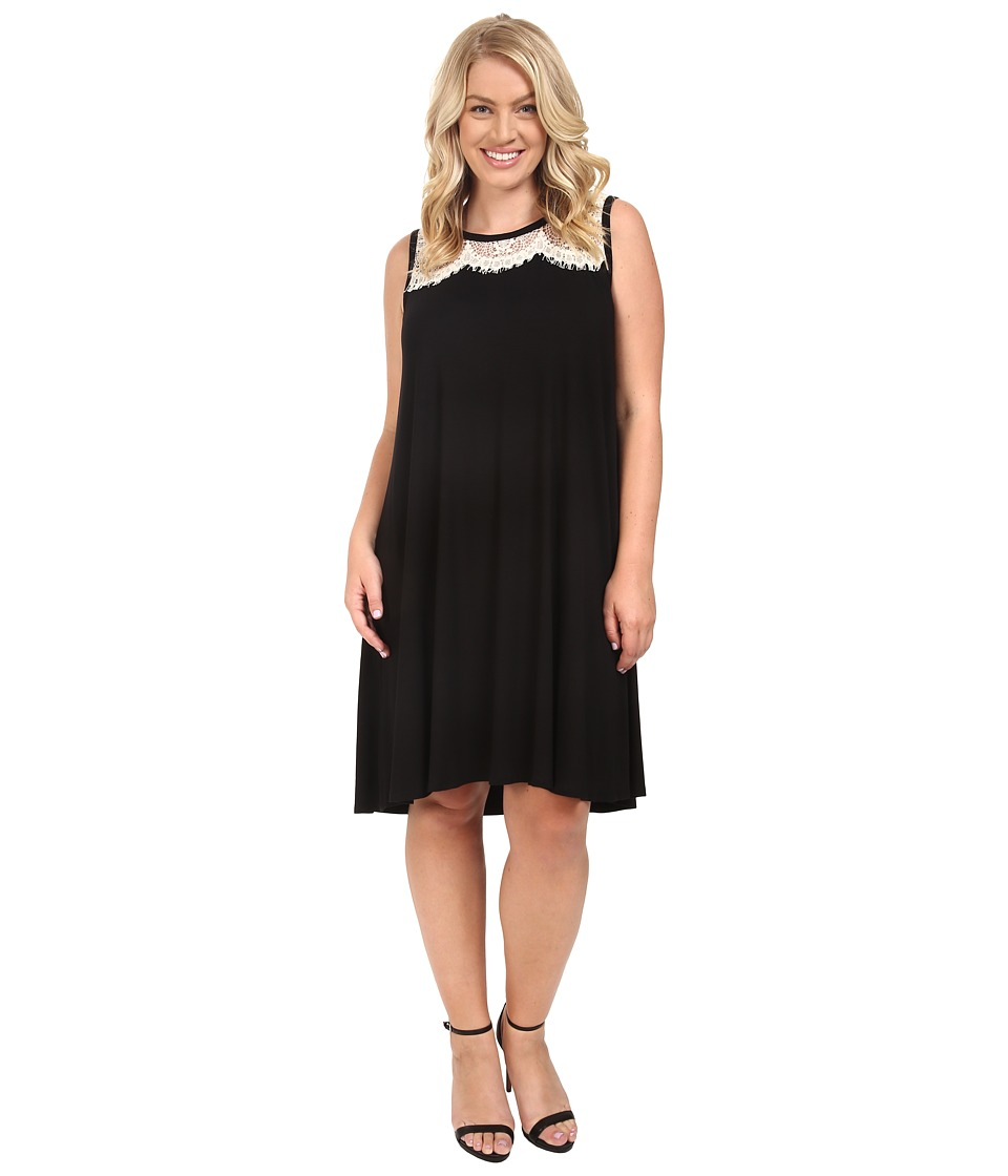 Karen Kane Plus - Plus Size Lace Yoke Trapeze Dress (Black/Cream) Women's Dress