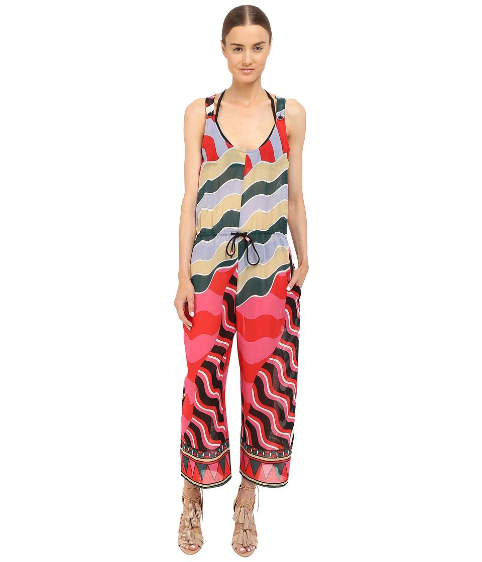 M Missoni - Stripe Jumpsuit Cover-Up (Black) Women's Swimsuits One Piece