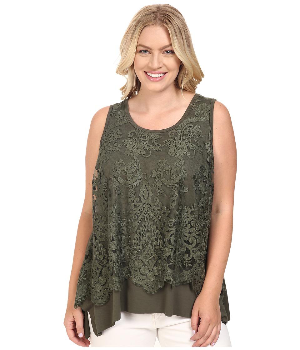 Karen Kane Plus - Plus Size Lace Overlay Handkerchief Tank Top (Olive) Women's Sleeveless