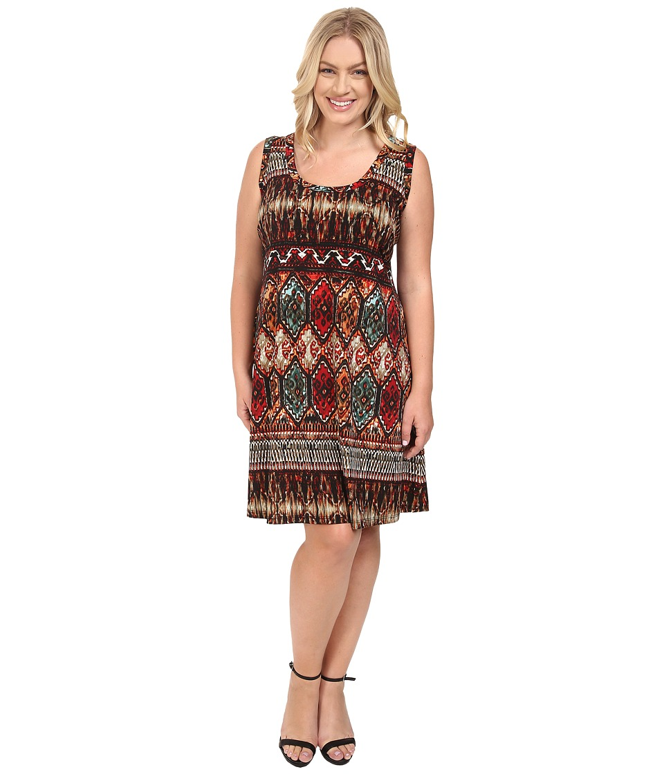 Karen Kane Plus - Plus Size Border Print Dress (Print) Women's Dress