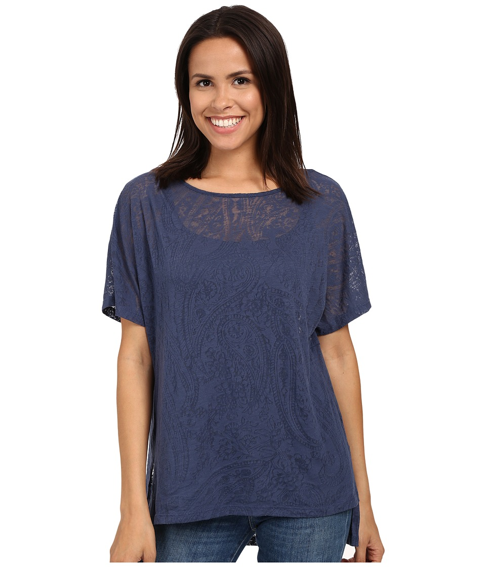 Miraclebody Jeans Paige Pleat Back Top w/ Body-Shaping Inner Shell (Navy Blue) Women