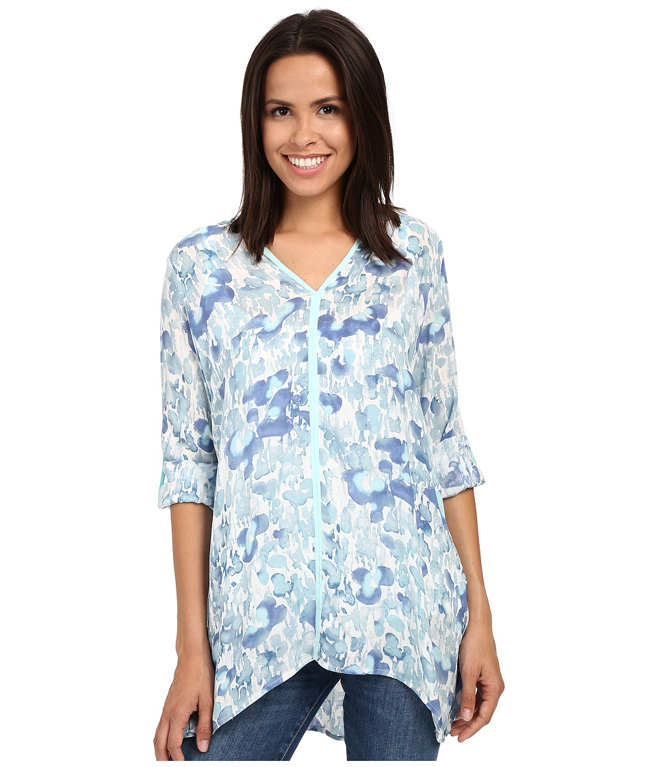 Miraclebody Jeans - Shea Waterlily Print Tunic w/ Body-Shaping Inner Shell (Aqua Green) Women's Blouse