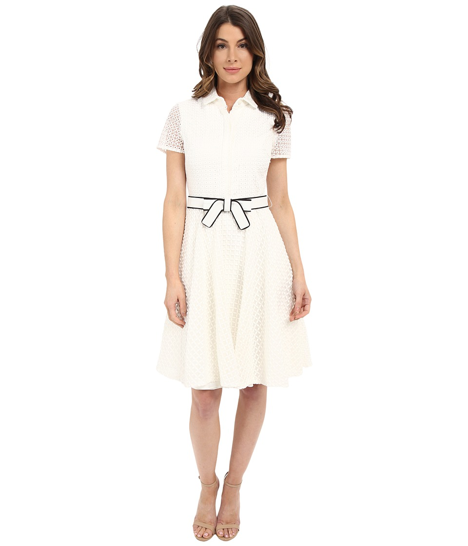 Badgley Mischka - Eyelet Combo Shirtdress with Belt (White) Women's Dress