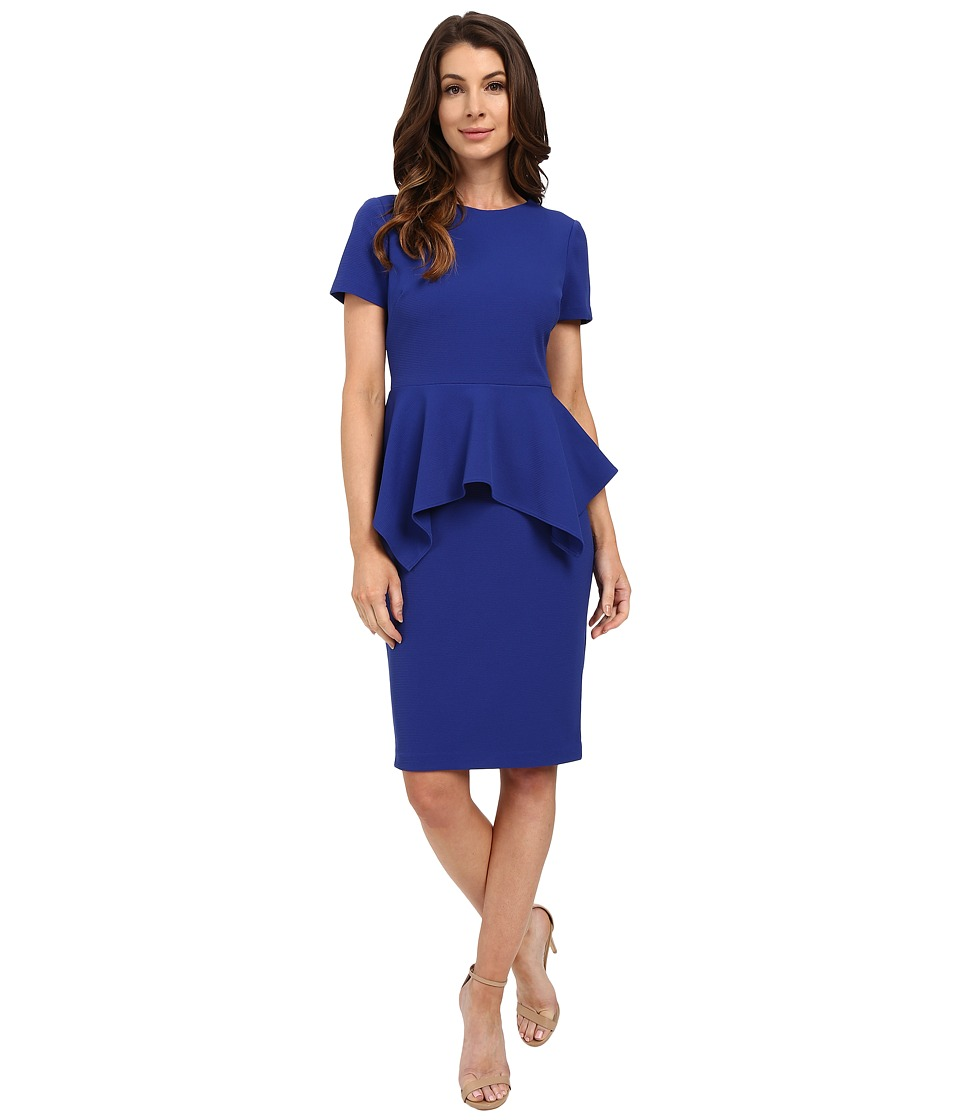 Badgley Mischka - Stretch Faille Peplum Dress (Cobalt) Women's Dress