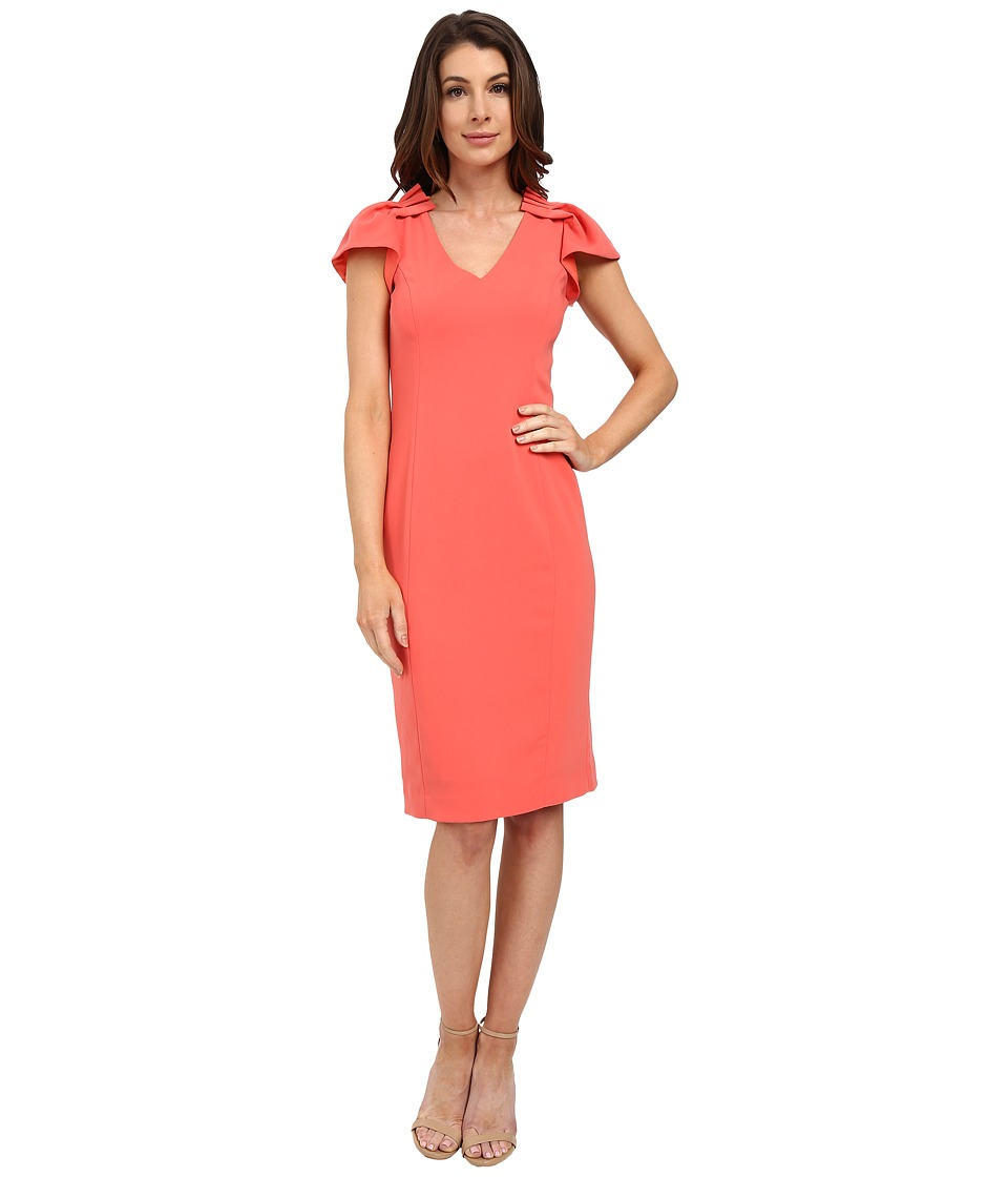 Badgley Mischka - Pleated Shoulder Sheath Dress (Bright Coral) Women's Dress