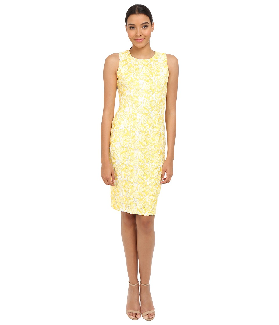 Badgley Mischka - Butterfly Lace Sheath Dress (Yellow/White) Women's Dress