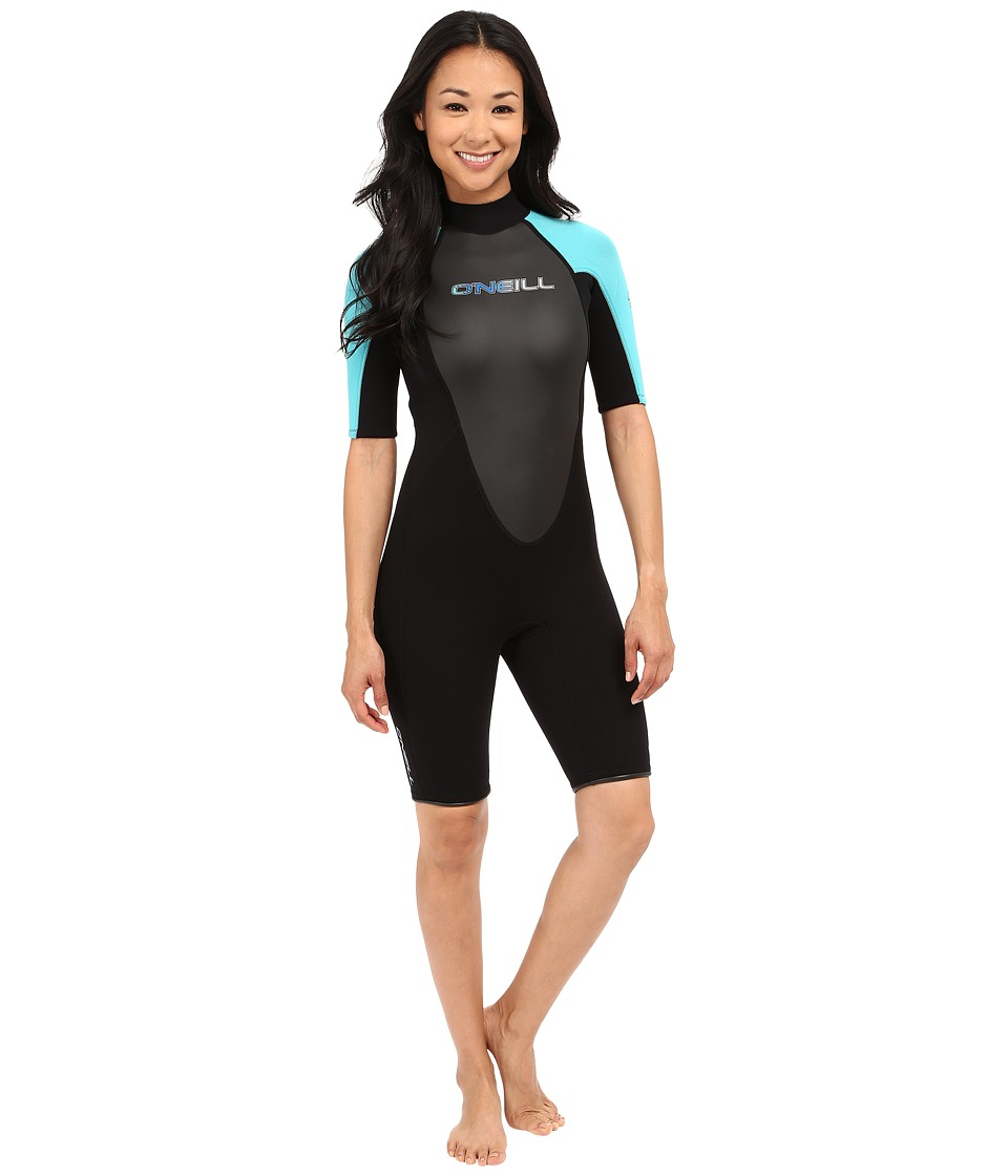 O'Neill - Reactor Spring Suit (Black/Turquoise/Black) Women's Wetsuits One Piece