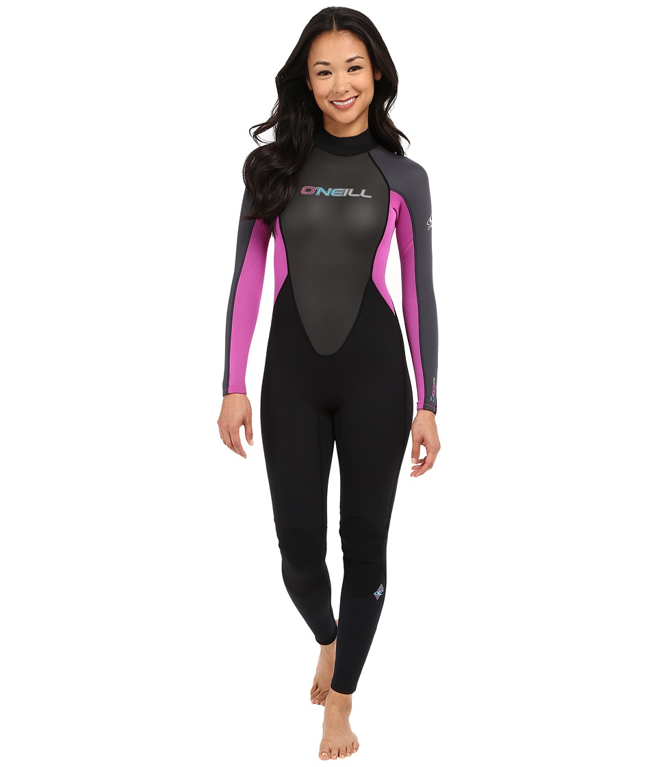 O'Neill - Reactor 3/2 Full (Black/Graphite/Berry) Women's Wetsuits One Piece