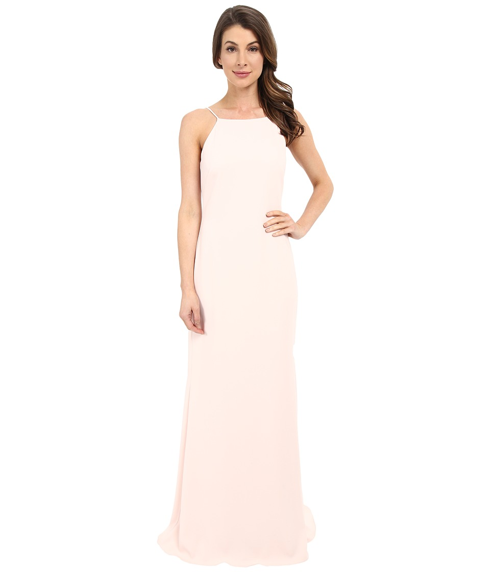 Badgley Mischka - Pleated Strap Gown (Light Blush) Women's Dress