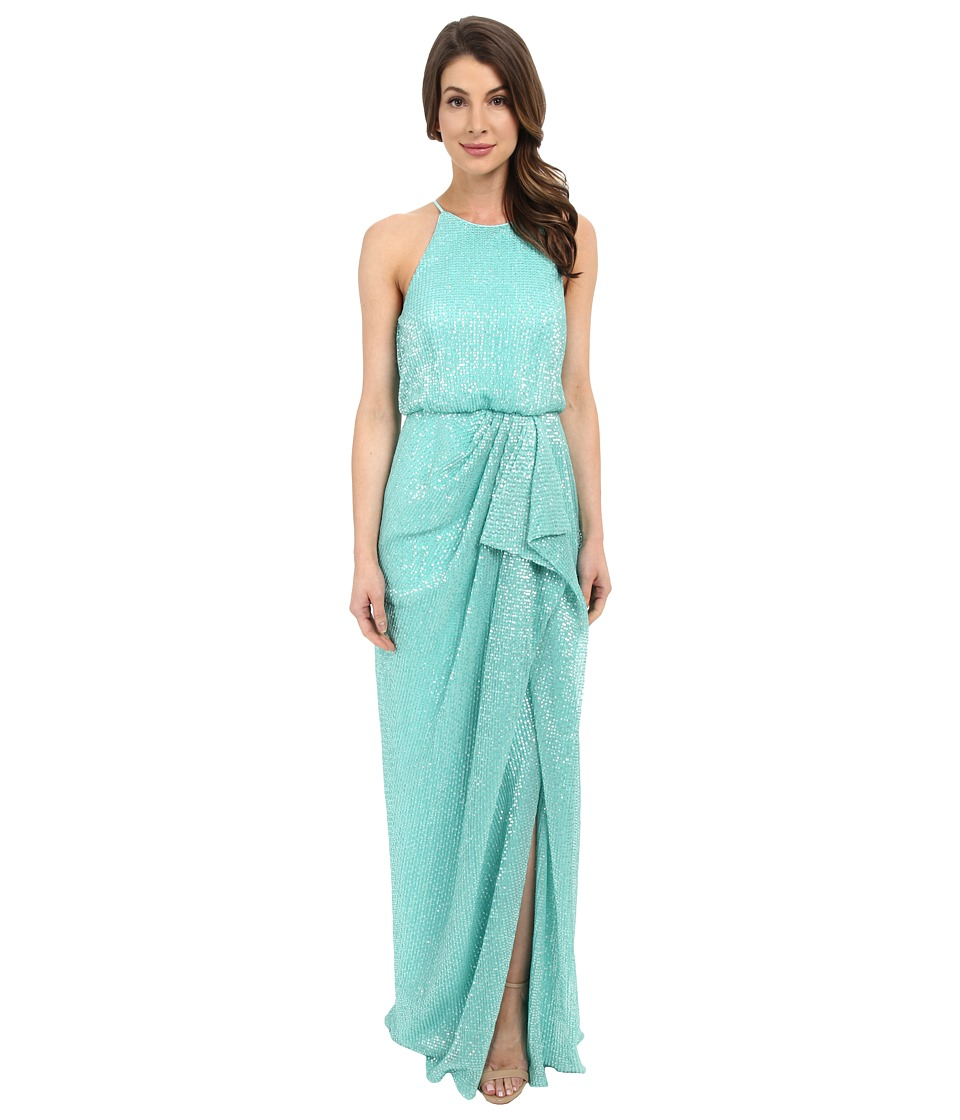 Badgley Mischka - Draped Pleated Sequin (Mint) Women's Dress
