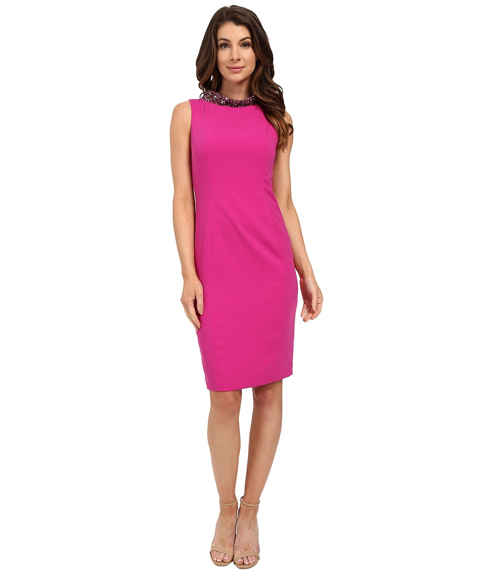 Badgley Mischka - Beaded Cowl Neck Cocktail (Fuchsia) Women's Dress
