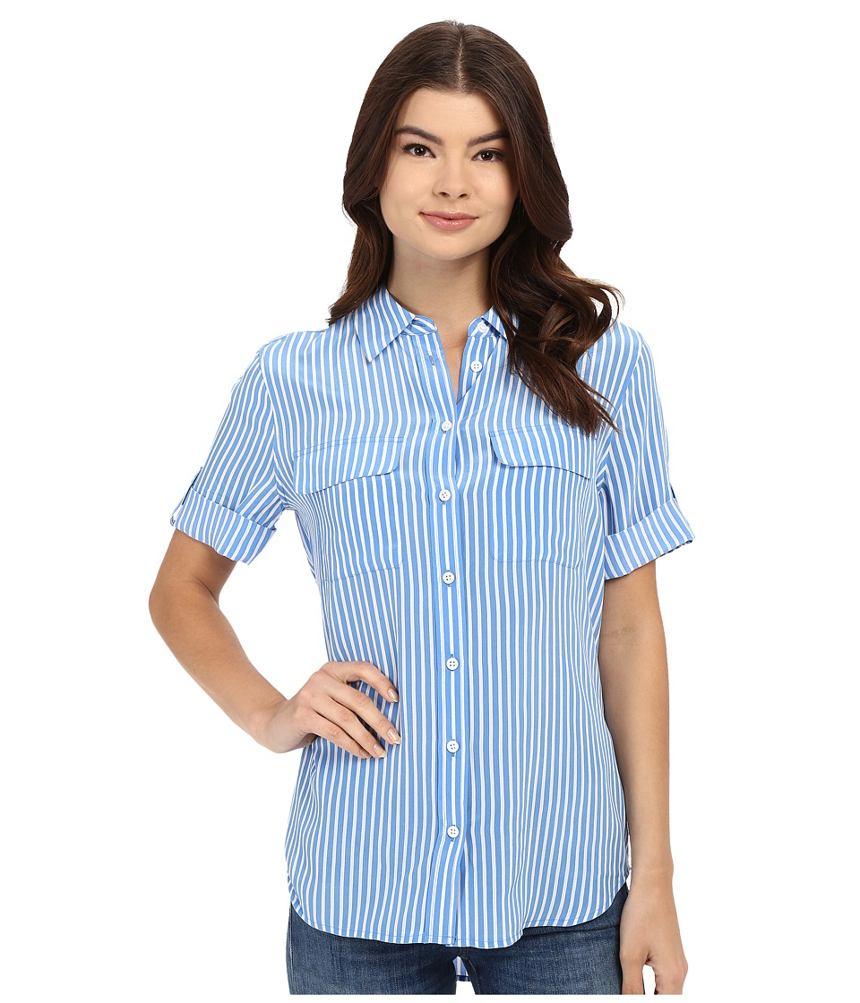 EQUIPMENT - Short Sleeve Slim Signature (Regatta/Bright White) Women's Short Sleeve Button Up