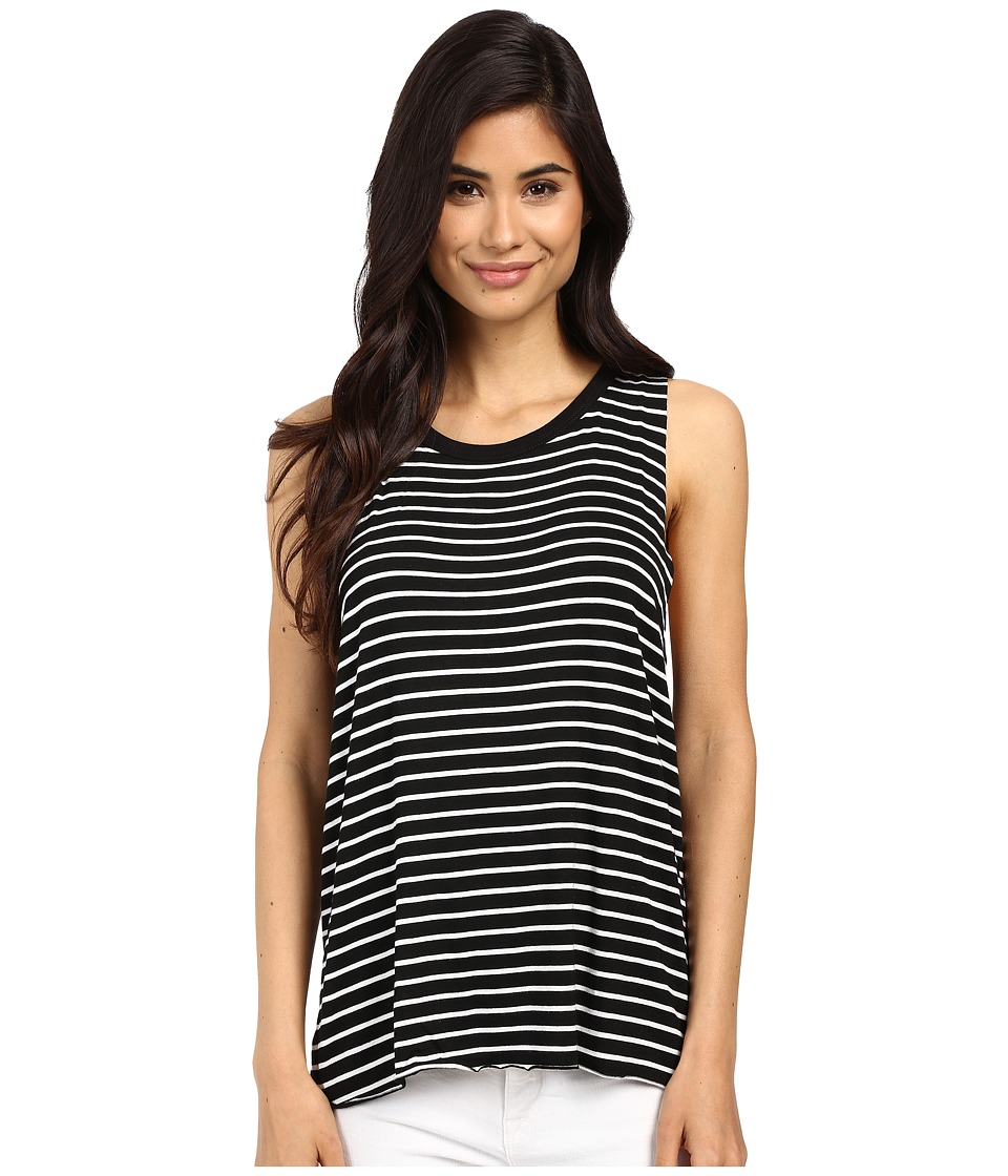 Project Social T - Anne-Claire Stripe Tank Top (Black/White) Women's Sleeveless