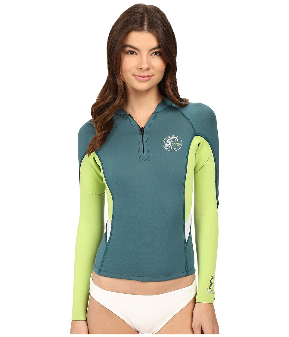 O'Neill - Bahia Front-Zip 1MM Jacket (Deep Teal/Lime/White) Women's Swimwear