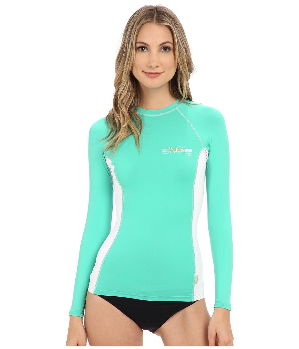 O'Neill - Skins L/S Crew (Seaglass/White/Seaglass) Women's Swimwear