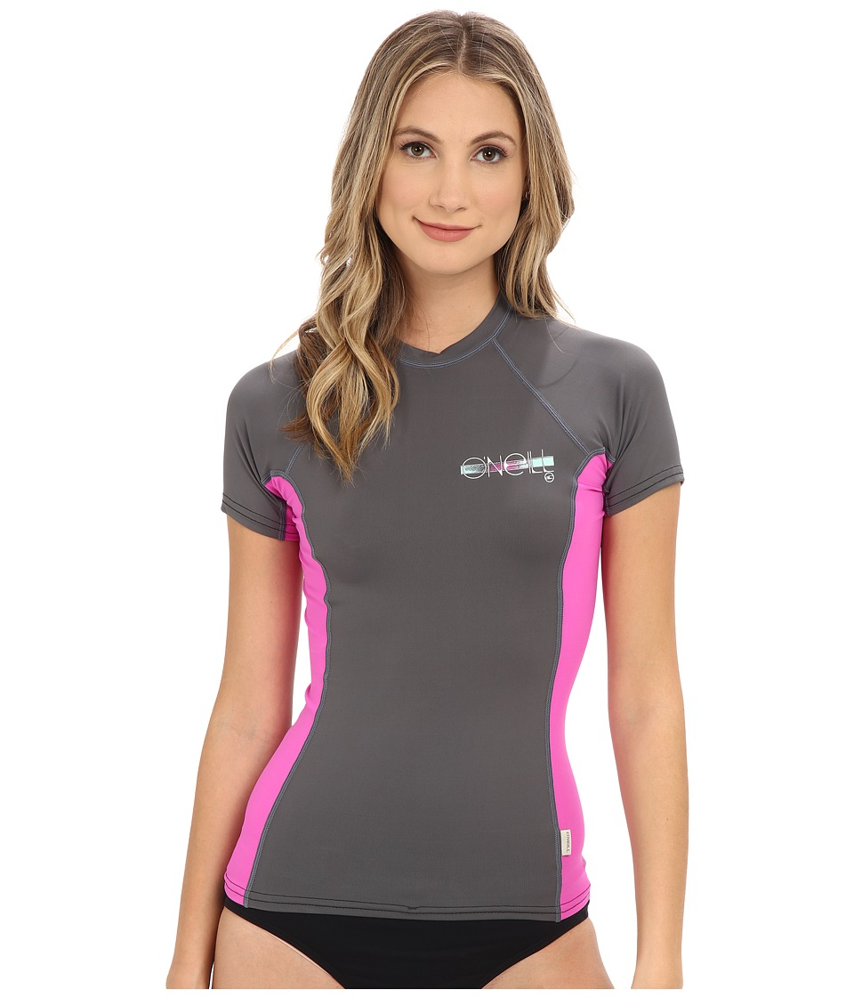 O'Neill - Skins S/S Crew (Graphite/Berry/Graphite) Women's Swimwear