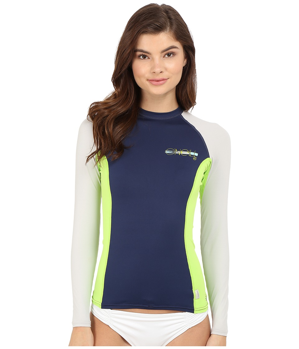 O'Neill - Skins L/S Crew (Navy/Lime/Lunar) Women's Swimwear