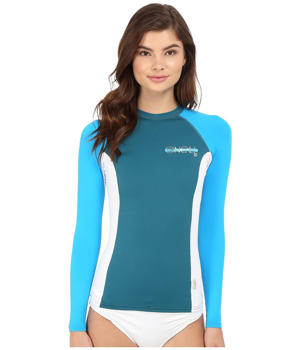 O'Neill - Skins L/S Crew (Deep Teal/White/Sky) Women's Swimwear
