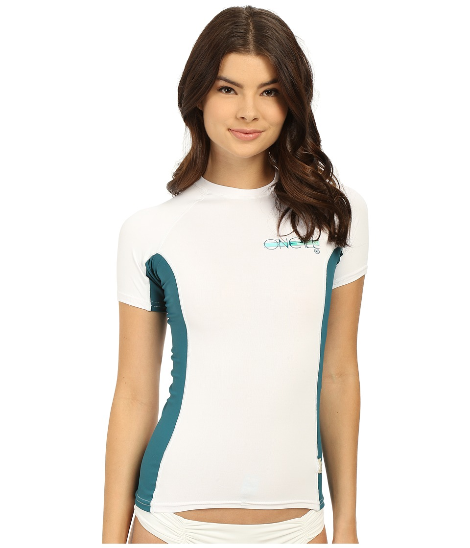 O'Neill - Skins S/S Crew (White/Deep Teal/White) Women's Swimwear