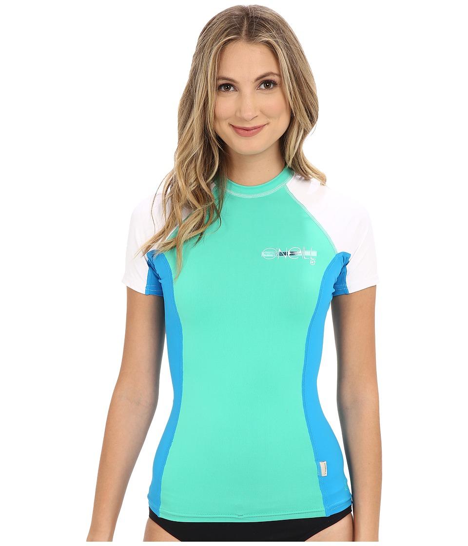 O'Neill - Skins S/S Crew (Seaglass/Sky/White) Women's Swimwear