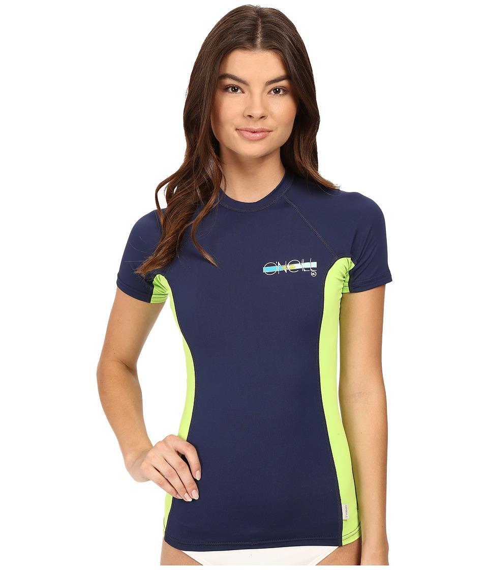 O'Neill - Skins S/S Crew (Navy/Lime/Navy) Women's Swimwear