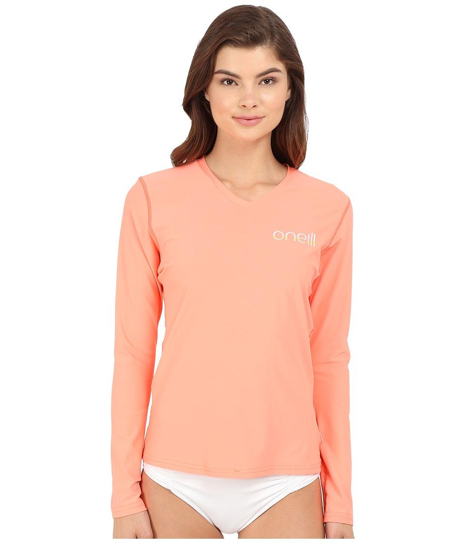 O'Neill - Tech 24-7 Long Sleeve V-Neck (Light Grapefruit) Women's Swimwear