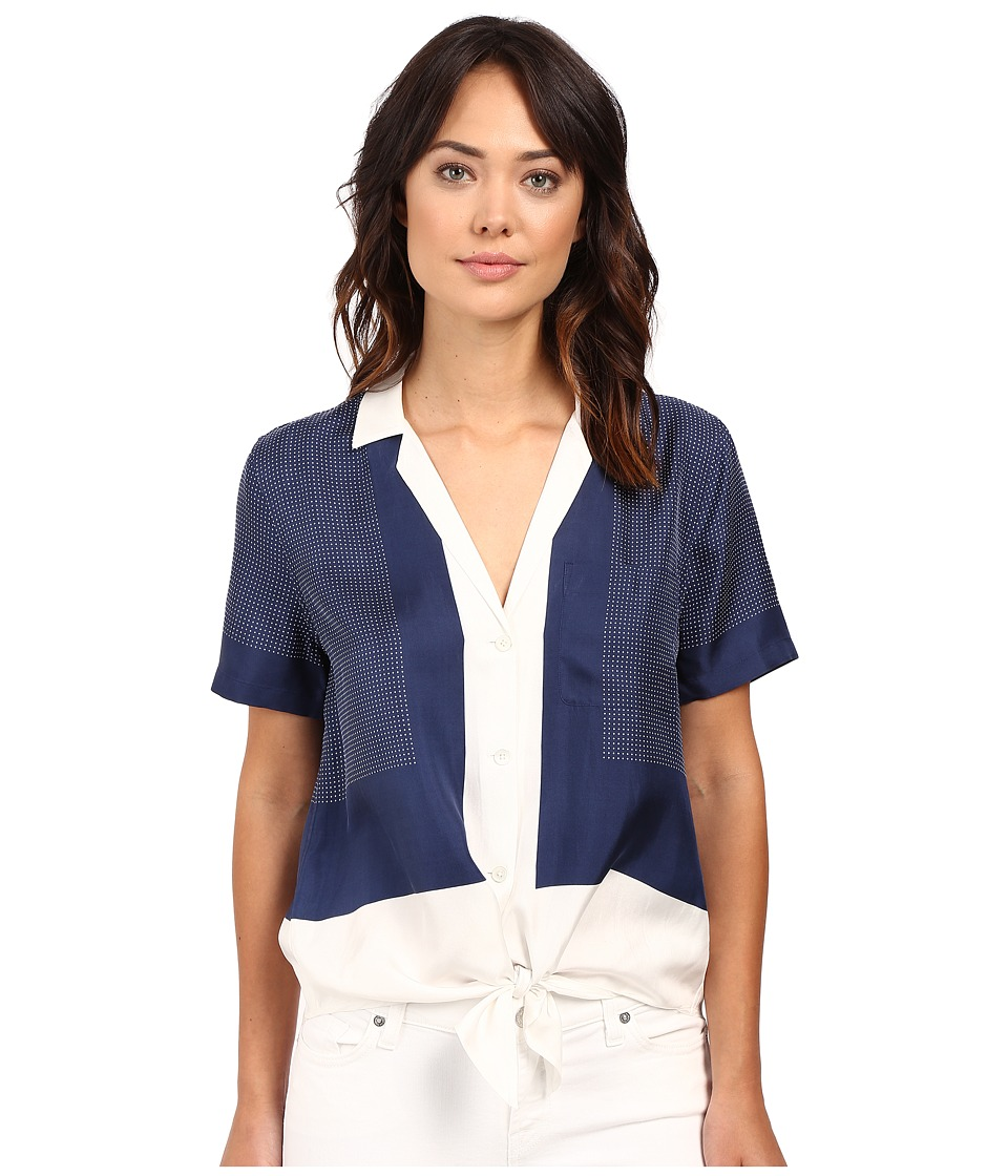 EQUIPMENT - Short Sleeve Keira Tie Front (Peacoat/Bright White) Women's Clothing