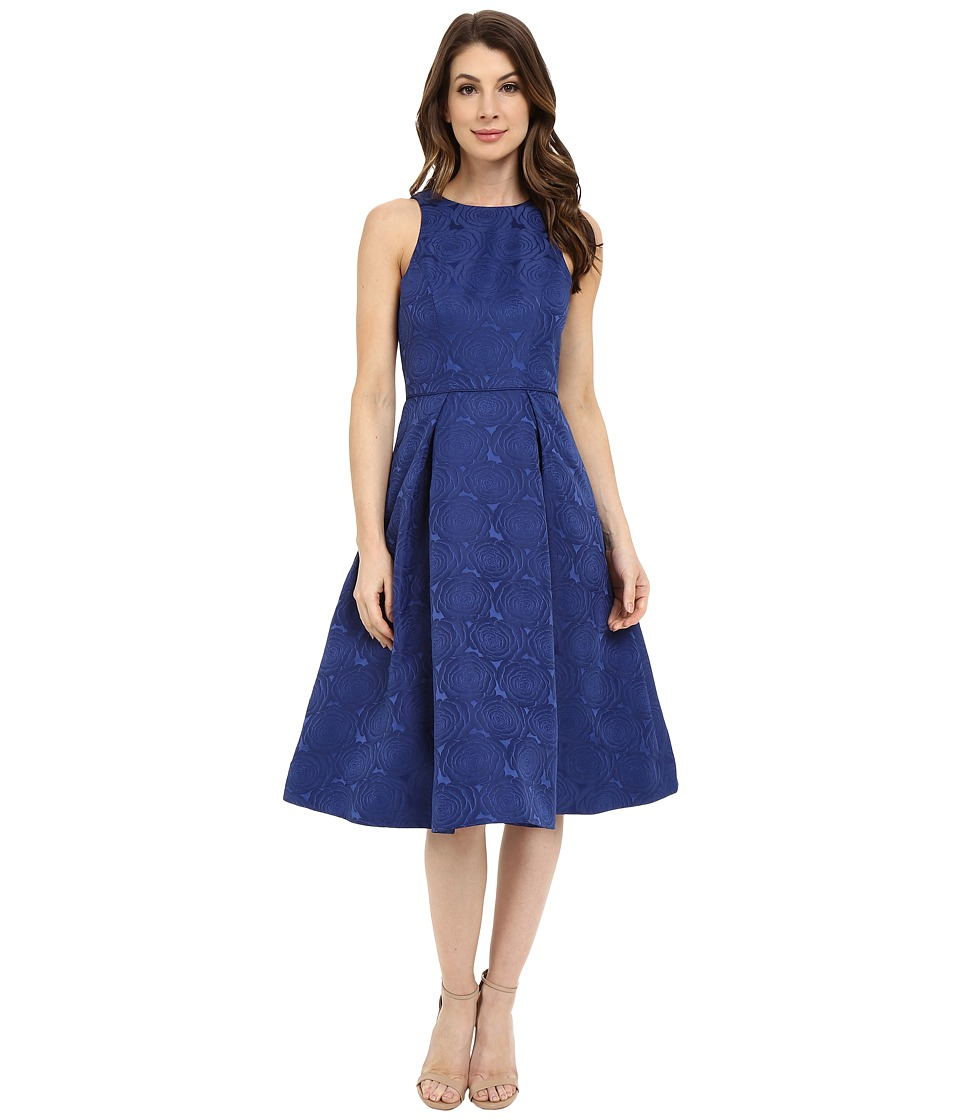 Maggy London - Jacquard Satin Rose Fit and Flare (Midnight) Women's Dress