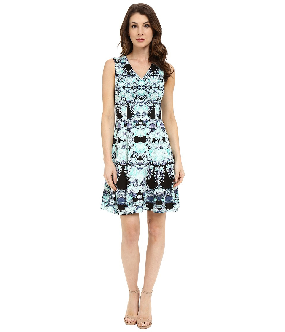 Maggy London - Feathered Floral Scuba Fit and Flare (Black/Aqua) Women's Dress