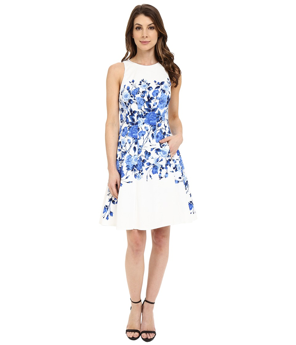 Maggy London - Trailing Rose Printed Cotton Fit and Flare (Cream/Blue) Women's Dress