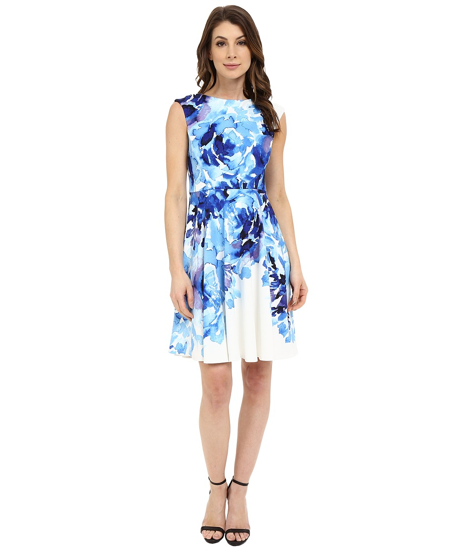 Maggy London - Rosey Peony Printed Scuba Fit and Flare (Soft White/Sky) Women's Dress