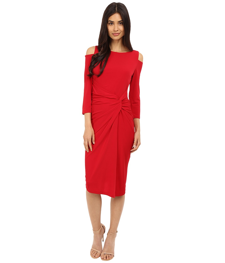 Maggy London - Solid Matte Jersey Dress with Cold Shoulder (Lipstick) Women's Dress