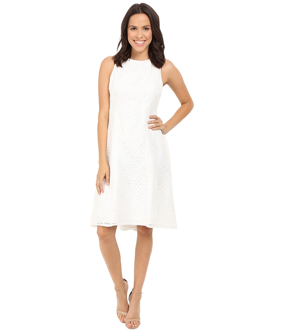 Maggy London Circle Interlocking Lace Fit and Flare (White) Women