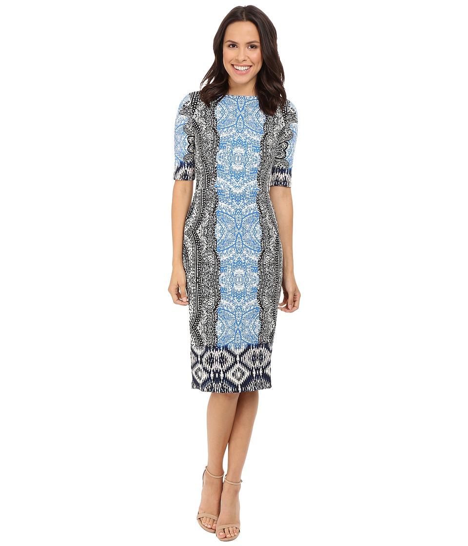 Maggy London - Ikat Panel Border Jersey Sheath with Elbow Sleeve (Cream/Malibu Blue) Women's Dress