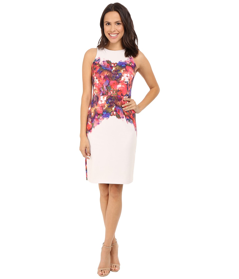 Maggy London - Water Rose Printed Scuba Sheath (Cream/Scarlet) Women's Dress