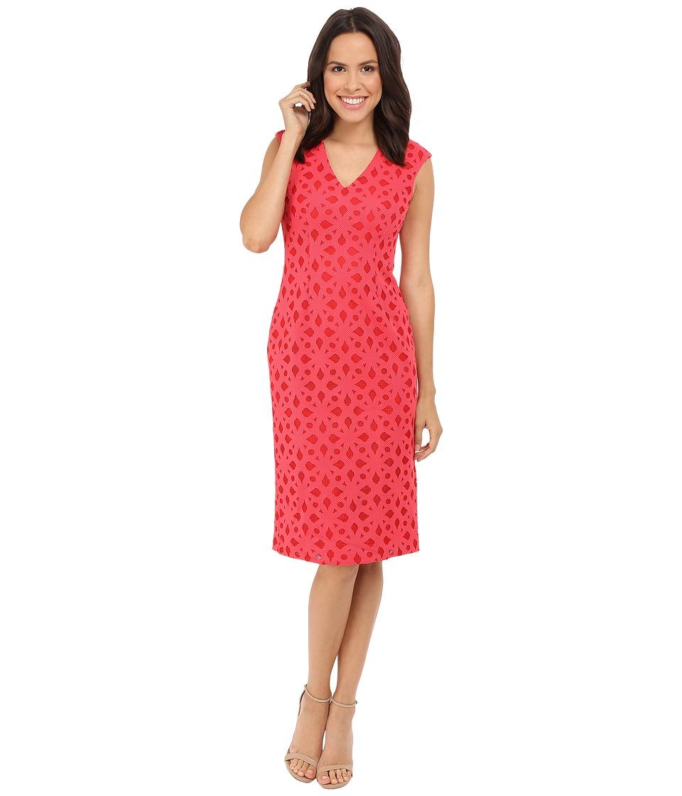 Maggy London - Pique Burnout Novelty Sheath (Tulip Red) Women's Dress