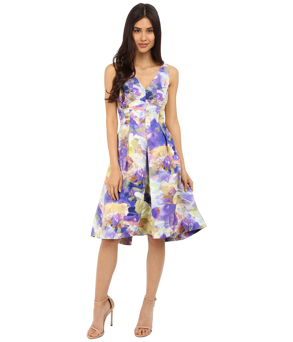 Maggy London - Rainbow Haze Floral Faille Fit and Flare (Purple Lime) Women's Dress