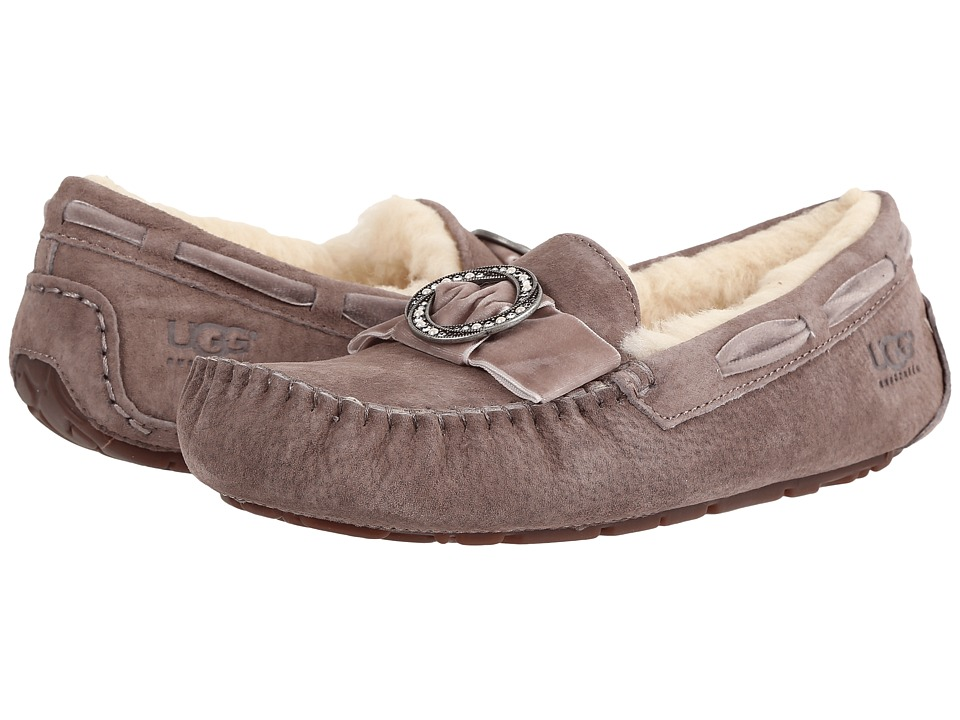 UGG - Dakota Brooch (Stormy Grey) Women's Slippers