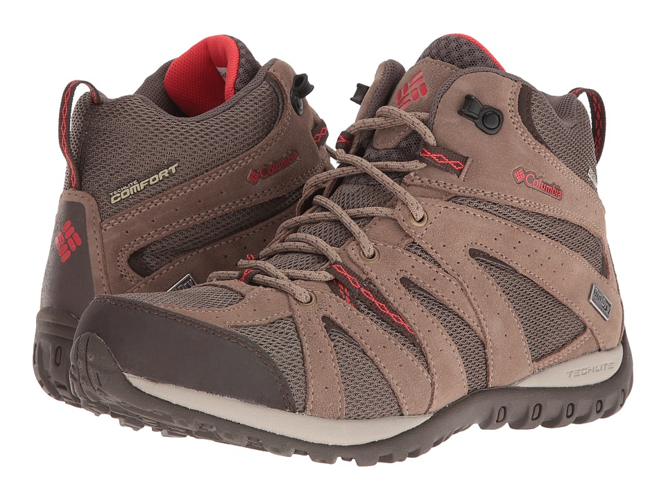 Columbia - Grand Canyon Mid Waterproof (Mud/Poppy Red) Women's Shoes