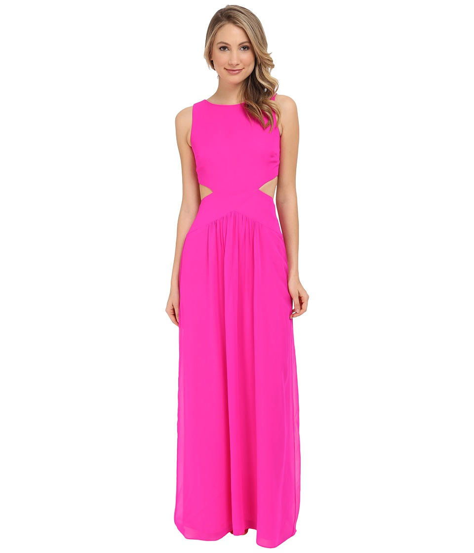 Nicole Miller Queen of the Night Viscose Gerogette Dress (Neon Pink) Women's Dress