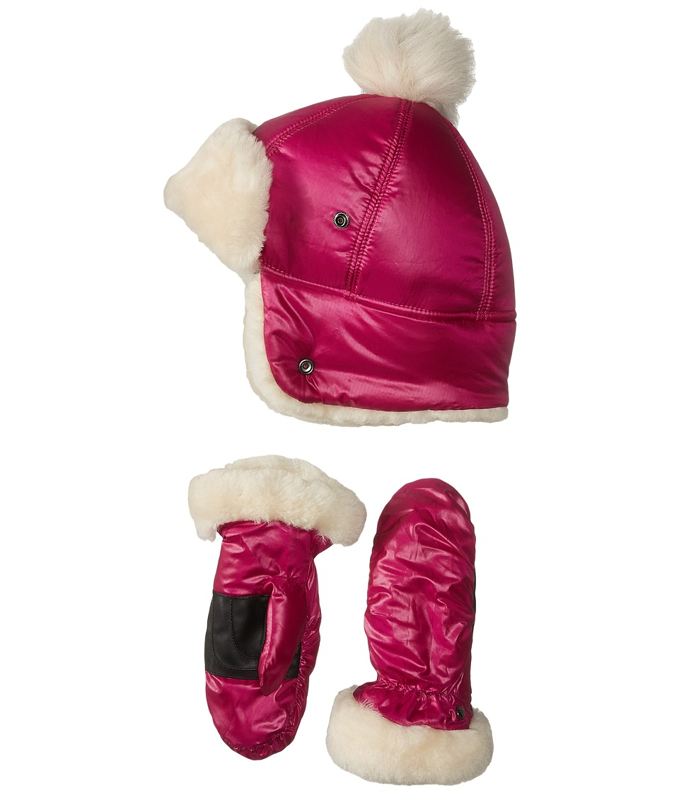 UGG Kids - Fabric Pom Hat and Mitten Boxed Set (Toddler/Little Kids) (Maigenta) Cold Weather Hats