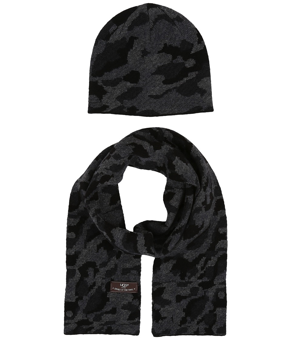 UGG Kids - Camo Beanie and Scarf Boxed Set (Toddler/Little Kids) (Black Multi) Beanies